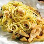 Espaguetti  con crema de champiñones