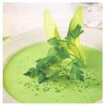 Sopa fría de aguacate, lima y cilantro   comida Tailandesa