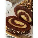 Pionono de chocolate relleno con pastelera de naranja